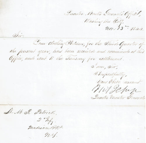 General Jesup Letter as Quartermaster General