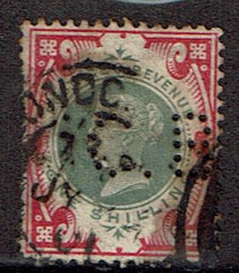 Great Britain #126 Cancelled perfins