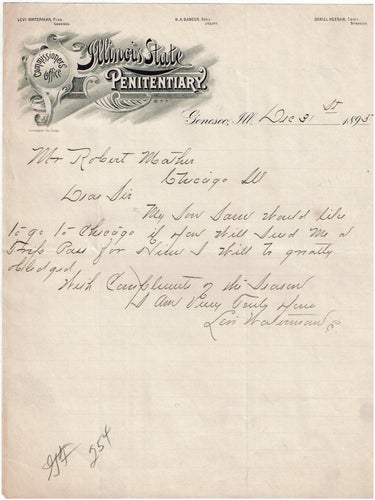 Commissioners Office Illinois State Penitentiary 1895 letter from Levi Waterman