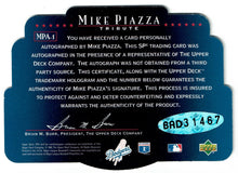 Load image into Gallery viewer, Baseball Mike Piazza Autographed 1 of 1 Upper Deck SPX 1996