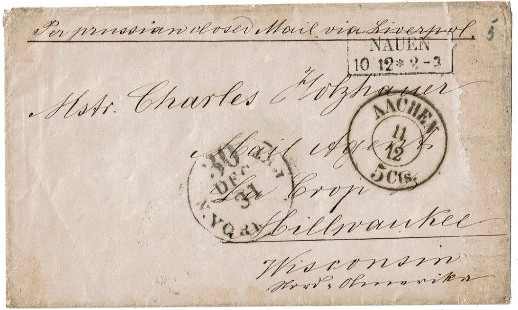 Germany Letter Posted at Nauen Germany Per Closed Prussian Mail