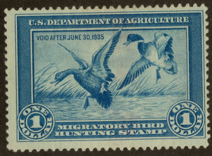 RW1 US Federal Duck Stamp, MNG