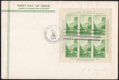 United States FDC 751 1934 Imperforate Pane of 6