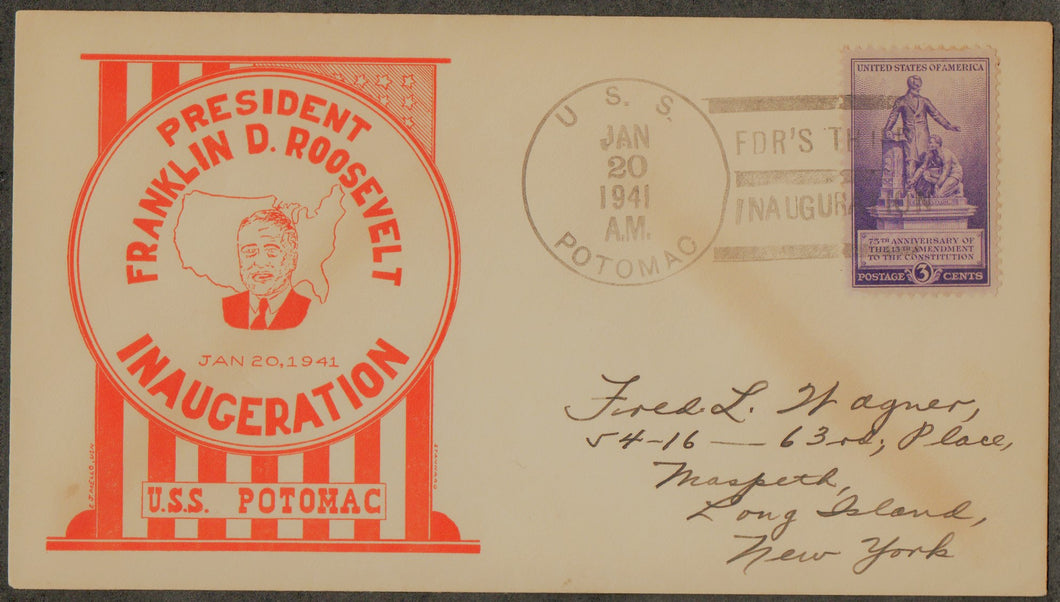 United States Inaugural Cover 3rd Term, Ship Cancel
