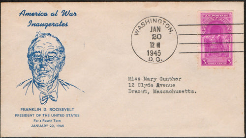 United States Inaugural Cover Franklin D. Roosevelt 4th Term