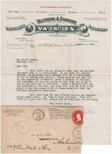 Valentine Varnish Company Letter on Letterhead and Envelope