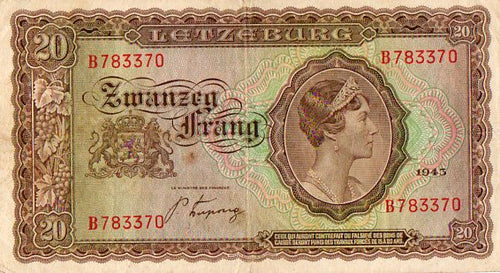 Luxembourg 1943 20 Franc Zwanzeg Frang Bank Note, Cat. 42