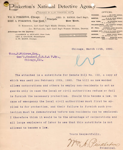 Pinkerton National Detective Agency Letter, 1892