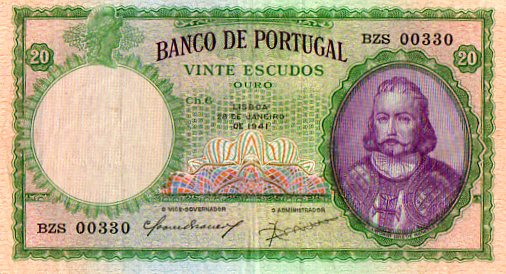 Portugal 1941 20 Escudos, Note 153A, Uncirculated