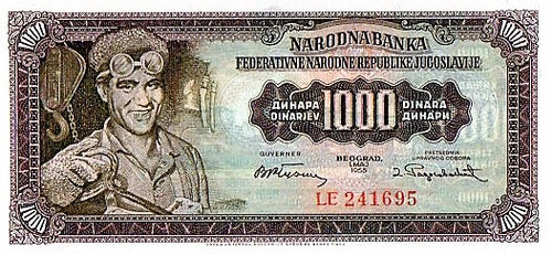 Yugoslavia 1955 1000 Dinara P-71a CU UNC Currency Note