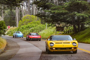 Lamborghini Miura S, Ferrari 365BBi and Porsche 911 Carrera 2.7 RS canvas car posters