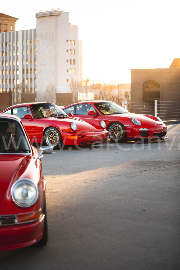 Porsche 911 Generations (911S, 964, 997 GT3) Canvas Car Posters