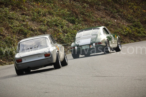 Alfa Romeo Giulia GTA and Porsche 911 on Track Canvas Car Poster