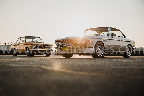 BMW 2800 CS (E9) and BMW 2002 Canvas Car Poster