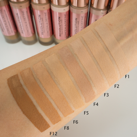 Makeup Revolution Conceal & Define Full Coverage Foundation Swatches