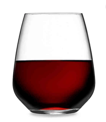CABERNET STEMLESS WINE GLASSES  S/2