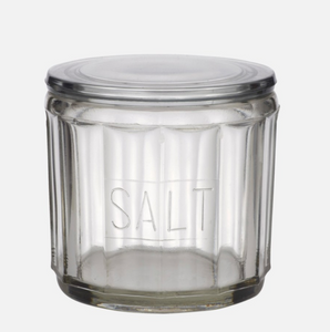 HEMMINGWAY GLASS SALT JAR W/LID