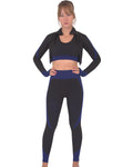 Trois Seamless Jacket, Leggings & Sports Top 3 Set - Black With Navy