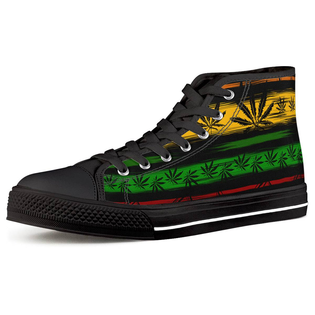 Rasta - Black High Top Canvas Shoes - Keyline Wear