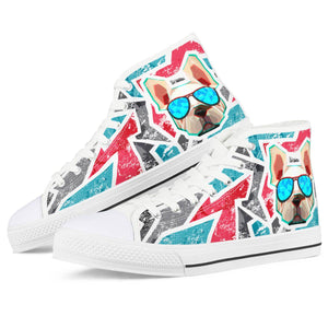 Dog Save The Queen - White High Top Canvas Shoes - Keyline Wear
