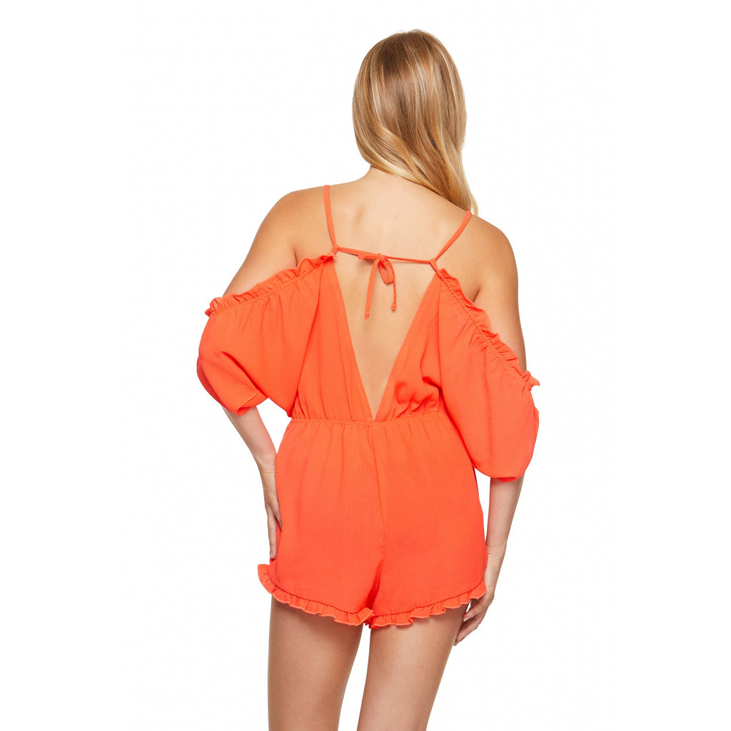 Salt & Jade Orange Cold Shoulder Romper Cover Up
