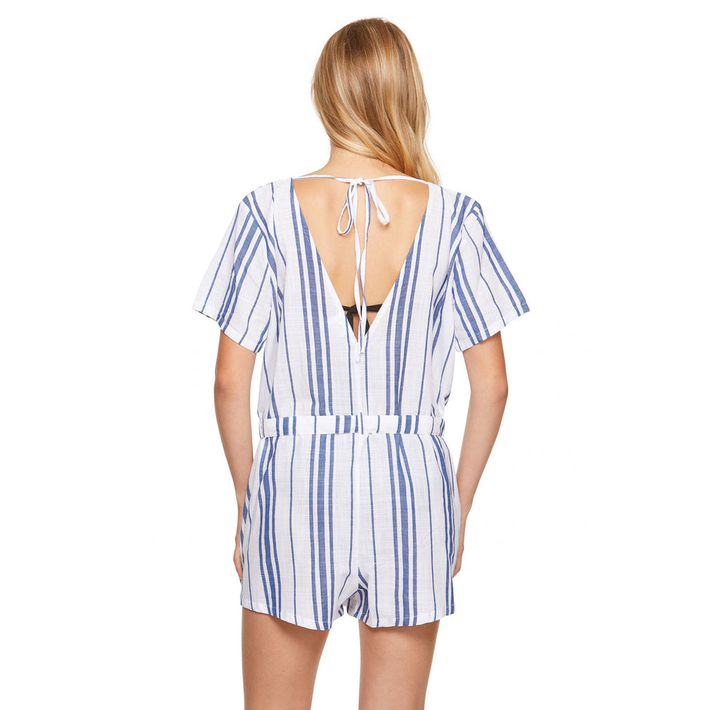 Salt & Jade Striped Romper Cover Up
