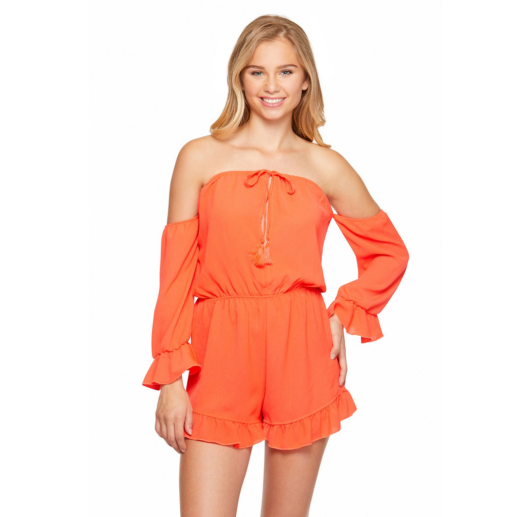 Salt & Jade Orange Off the Shoulder Long Sleeve Romper Cover Up