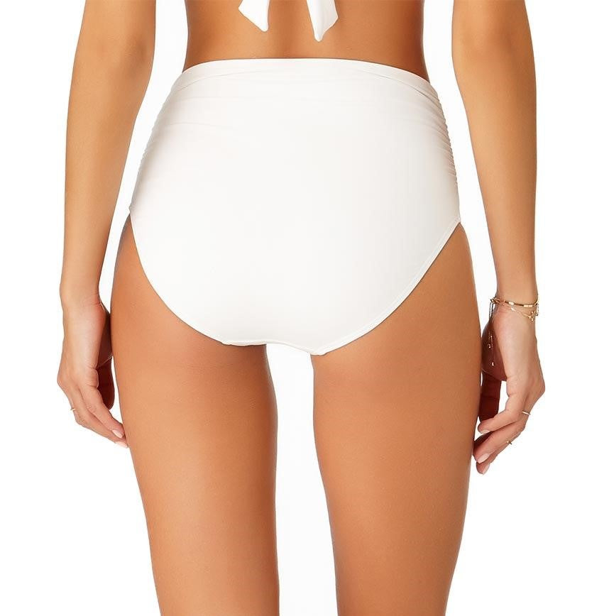 Anne Cole Women's White Live In Color Convertible Shirred Hi Waist Bikini Bottom