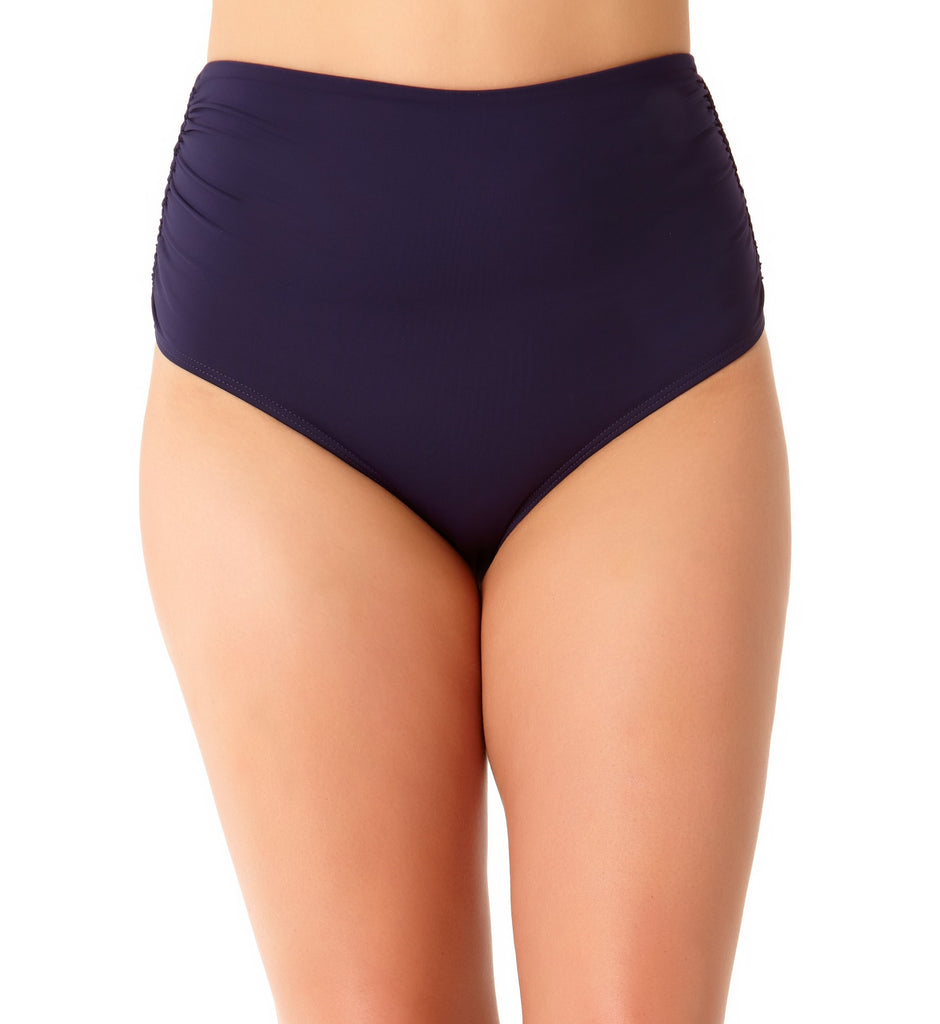Anne Cole Women's Plus Size Navy Shirred Hi Waist Bikini Bottom