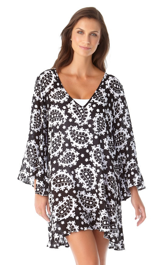 Anne Cole Riviera Paisley Flounce V Neck Tunic Cover Up