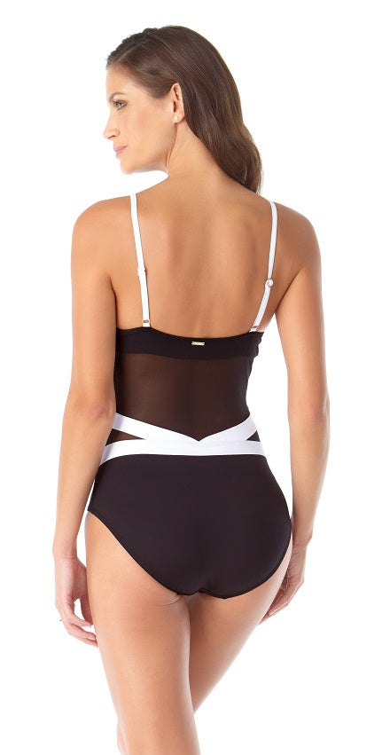 Anne Cole Hot Mesh Colorblock Mesh V Neck One Piece