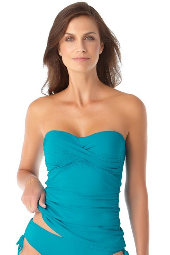 Anne Cole Live In Color Caribbean Blue Twist Front Shirred Bandeau Tankini Top