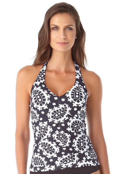 Anne Cole Riviera Paisley Shirred Front Halter Tankini Top