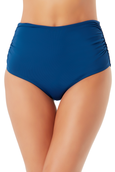Anne Cole Live In Color Tidal Blue Convertible High Waist Shirred Swim Bottom