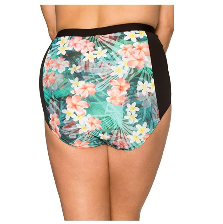 Sunsets Curve Plus Size Tropical Oasis Retro High-Waist Bottom