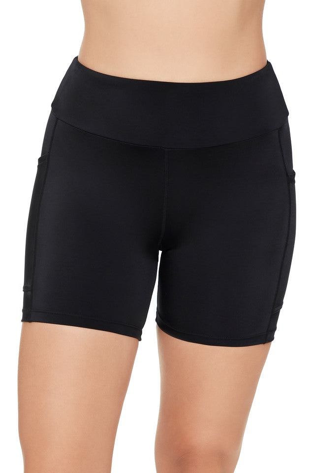 Penbrooke Black Solid Yoga Waist Swim Shorts