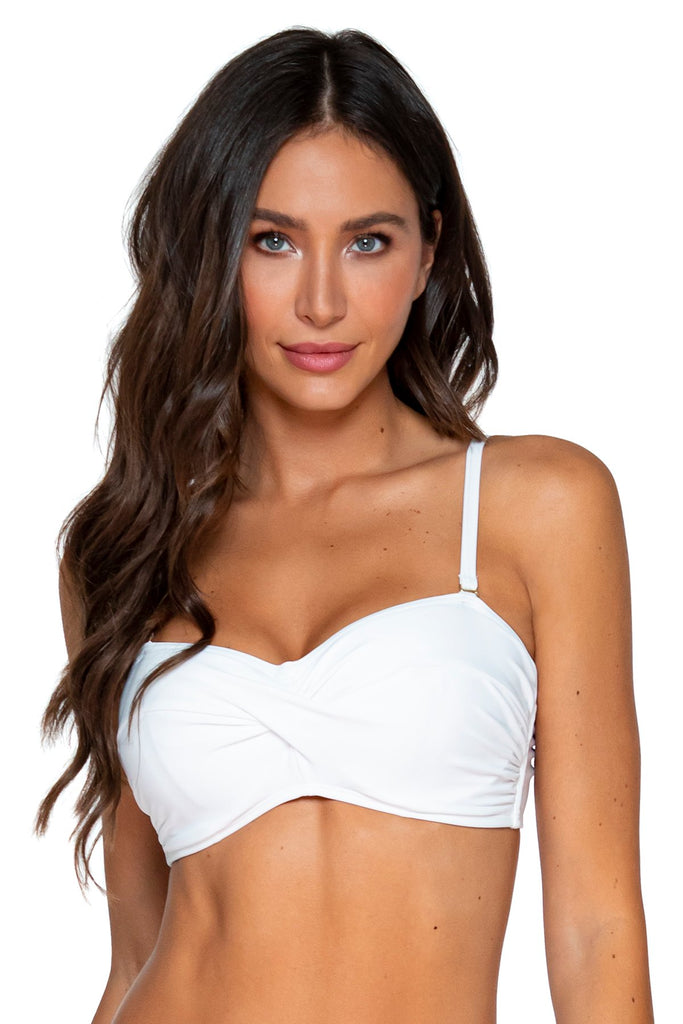 Sunsets White Iconic Twist Bandeau C, D, DD Cup Sizes Bikini Top
