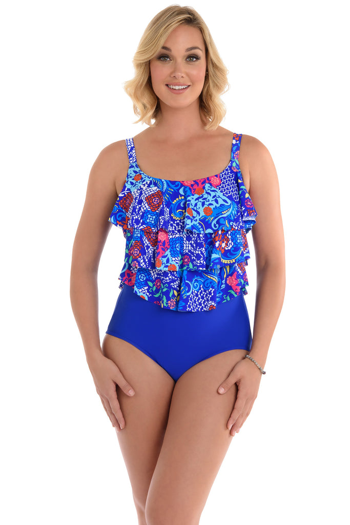 Penbrooke Swim Plus Size Bali Triple Tier Maillot One Piece