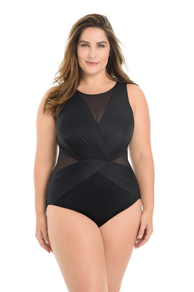 Miraclesuit Plus Size Solids Black Palma One Piece