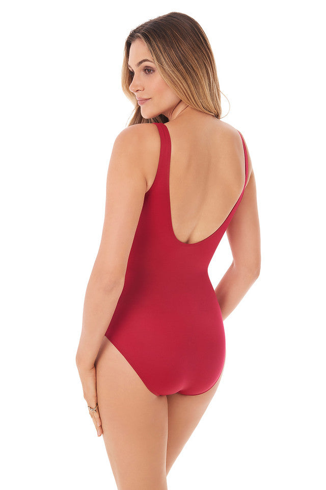 Miraclesuit Grenadine Red Rock Solid Revele One Piece