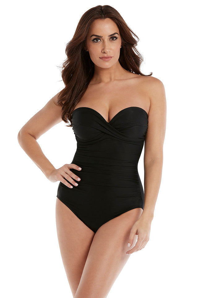 Miraclesuit Black Rock Solid Madrid Bandeau One Piece