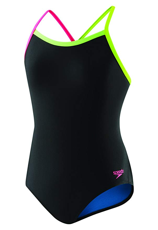 Speedo Girls' Flip Turns Solid Propel Back Pro Lt Black/Pink