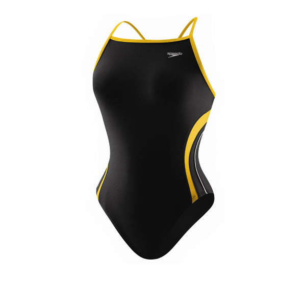 Speedo Girls' Rapid Splice Energy Back One Piece Black/Gold
