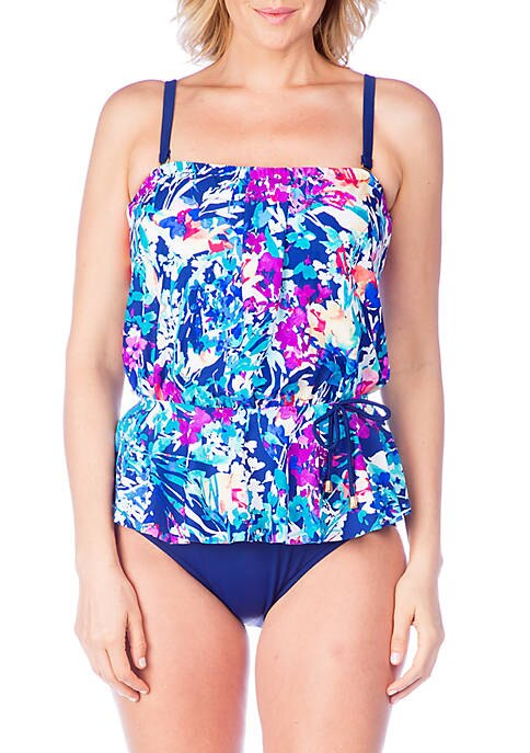 Maxine of Hollywood Floral Bouquet Peplum Tankini Top Navy Blue