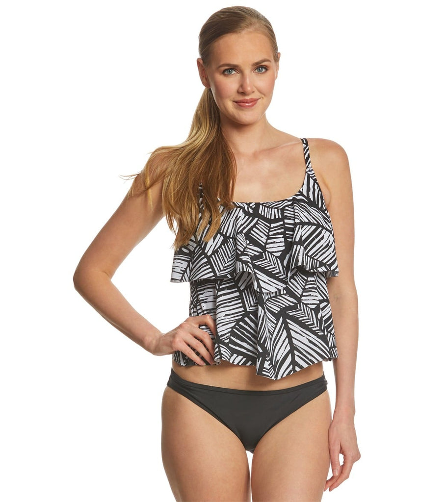Maxine of Hollywood Palm Tiered Tankini Top Black