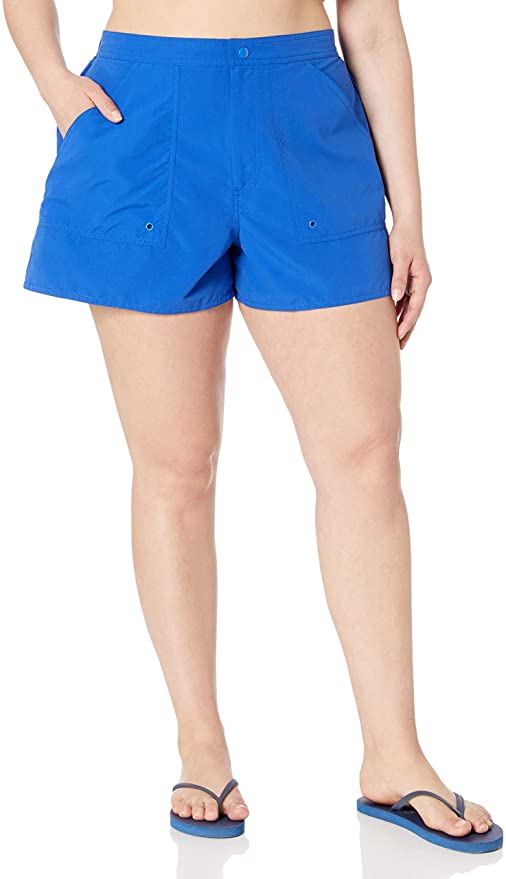 Maxine of Hollywood Plus Size Solid Woven Board Shorts Cobalt