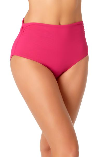 Anne Cole Live In Color Berry High Waist Shirred Bikini Bottom