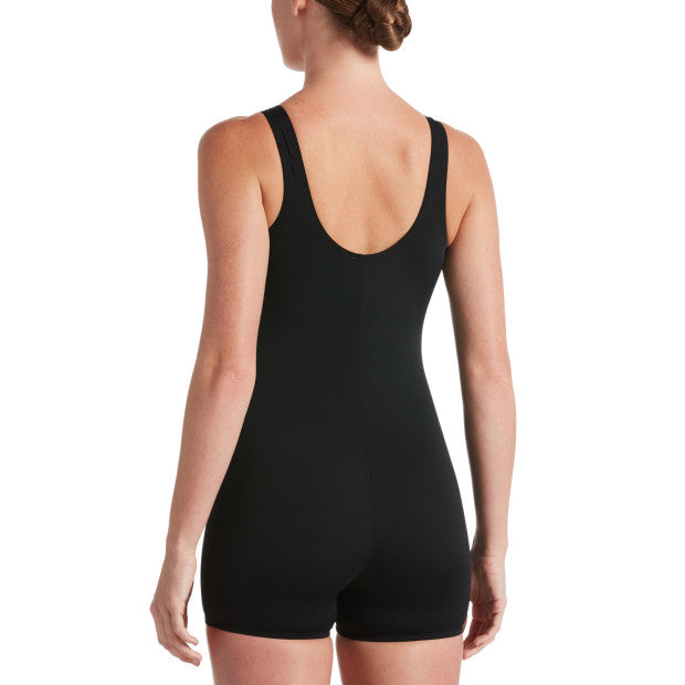 Nike Swim Women's Solid Legsuit Full Body One Piece Leotard Black