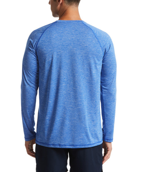 Nike Swim Men's Heather Long Sleeve Hydroguard Rash Guard Hyper Royal