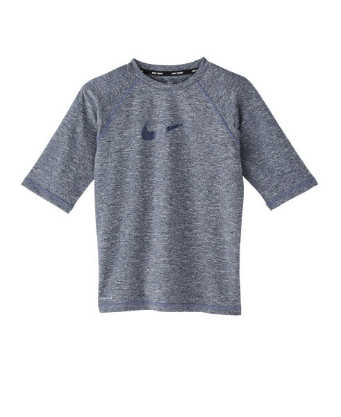 Nike Swim Boys' Heather Camo Swoosh Short Sleeve Rash Guard Obsidian